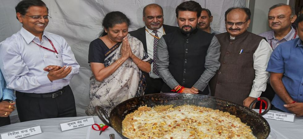 Union Minister for Finance Nirmala Sitharaman, MoS Anurag Thakur and Finance Secretary Subhash Chandra Garg during Halwa Ceremony (Photo Source: PTI)