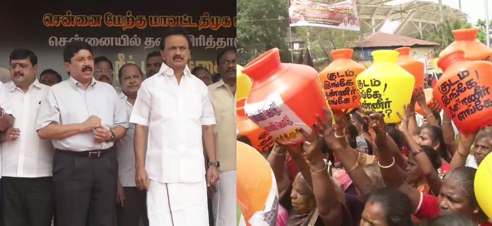 DMK started its protest in Chepauk, led by party's president MK Stalin. (Photos: ANI)