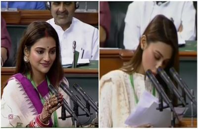 Trinamool MPs Nusrat Jahan, Mimi Chakraborty take oath in Lok Sabha