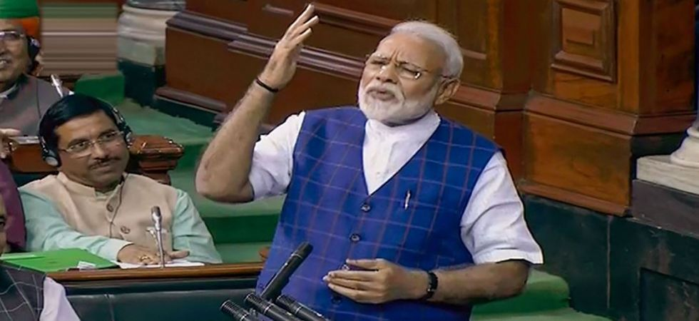 Prime Minister Narendra Modi replying to Motion of Thanks on President's Kovind's speech in Parliament (Photo Source: PTI)
