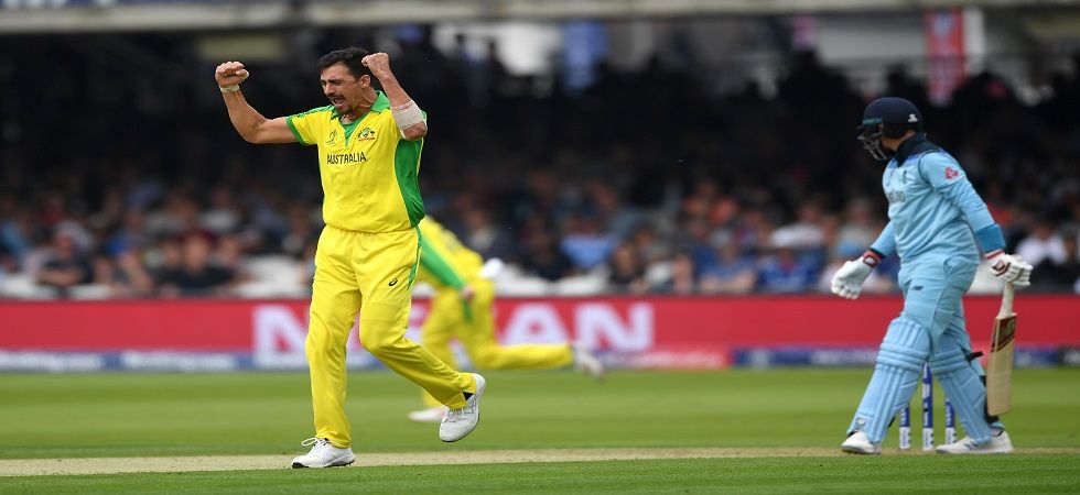 Mitchell Starc got the big wicket of Ben Stokes for 89 with a inswinging yorker as Australia won by 64 runs against England in Lord's to enter the semi-final. (Image credit: Getty Images)