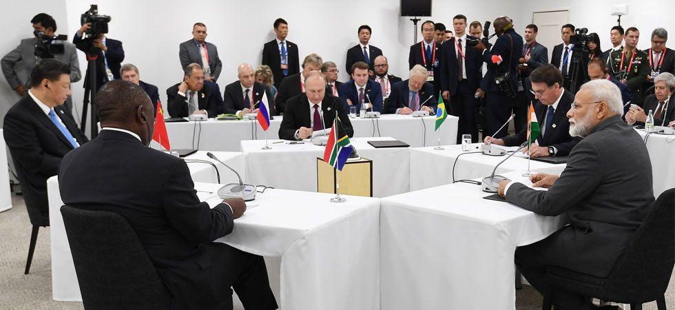 BRICS leaders held an informal meeting in the sidelines of G20 summit in Japan's Osaka. (Photo: Twitter/@MEAIndia)