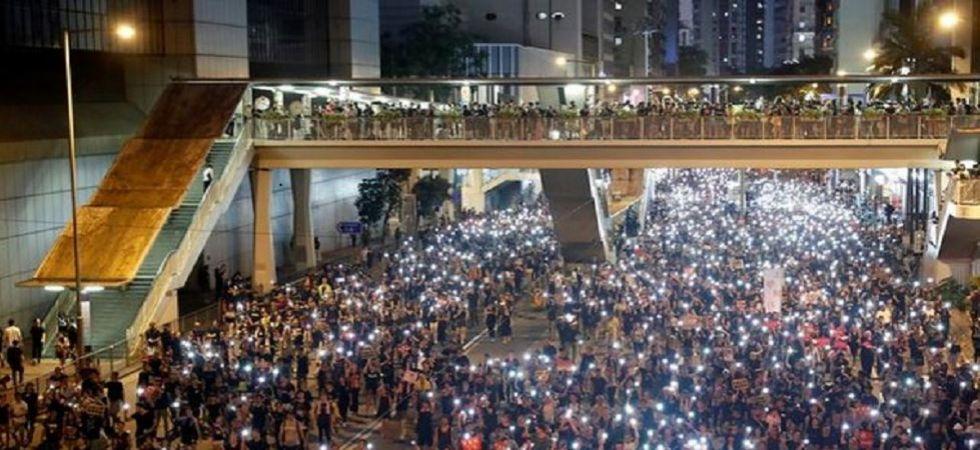 Protests outside Hong Kong Parliament (Photo Source: ANI)