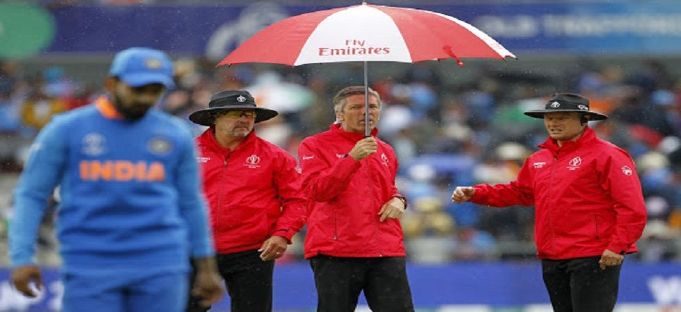 Rain stopped play during the first semi-final between India and New Zealand. The game will resume tomorrow. (Image credit: Getty Images)