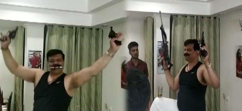 MLA Kunwar Pranav Singh Champion said he had been playing with guns since his childhood. (Screengrab)