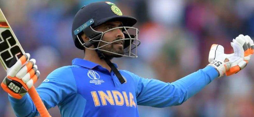 Ravindra Jadeja after scoring fifty against New Zealand.