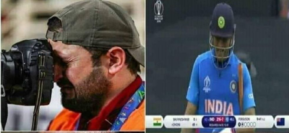 This emotional post is going viral on social media claiming that even a cameraman on the ground couldn't stop himself and cried on Dhoni's dismissal.