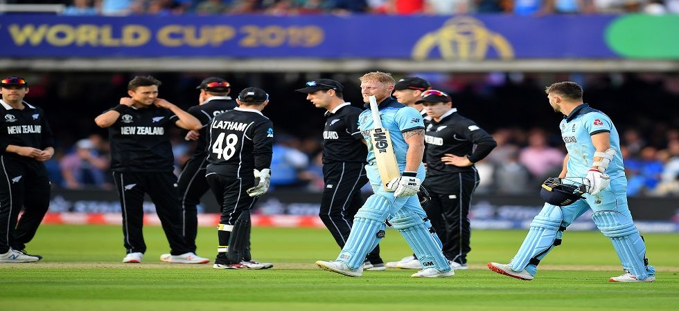 Ben Stokes dived for a second run in the final over but the ball hit the bat and went for four overthrows in the final against New Zealand at Lord's. (Image credit: Getty Images)