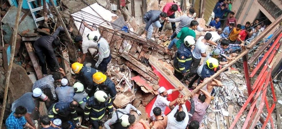 Photo of rescue operations after the 100-year-old four-storey building collapsed in Mumbai's Dongri area. (ANI photo)