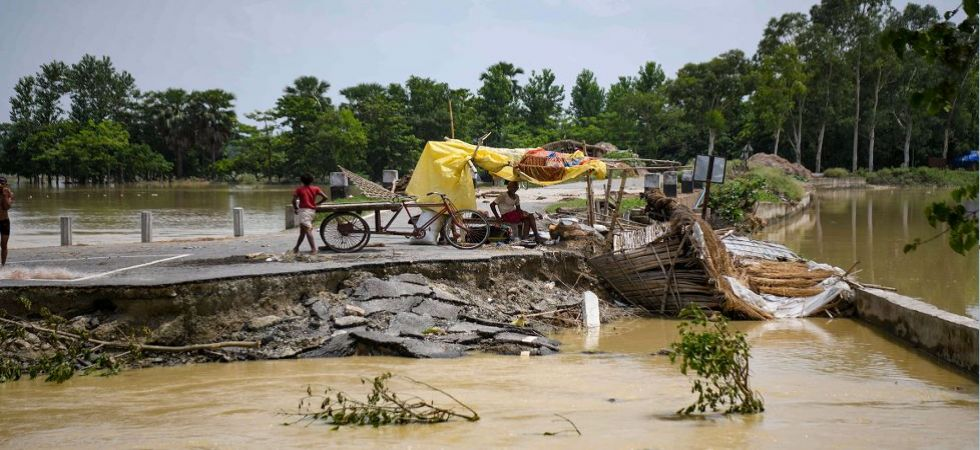 A view of a flood affected area following heavy monsoon rain at Sitamarhi district in Bihar (Photo Source: PTI)