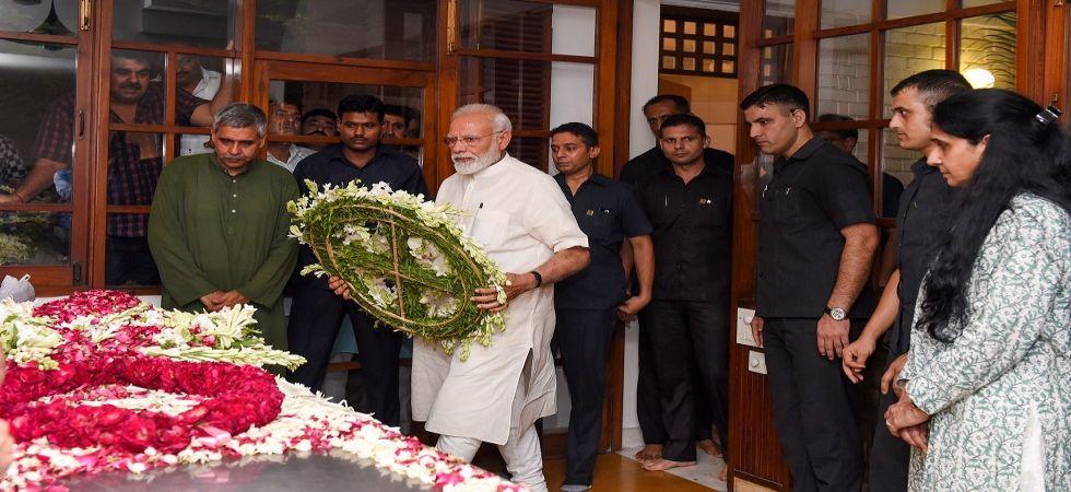 Prime Minister Narendra Modi paid tribute to Sheila Dikshit at her residence. (Photo Source: PTI)