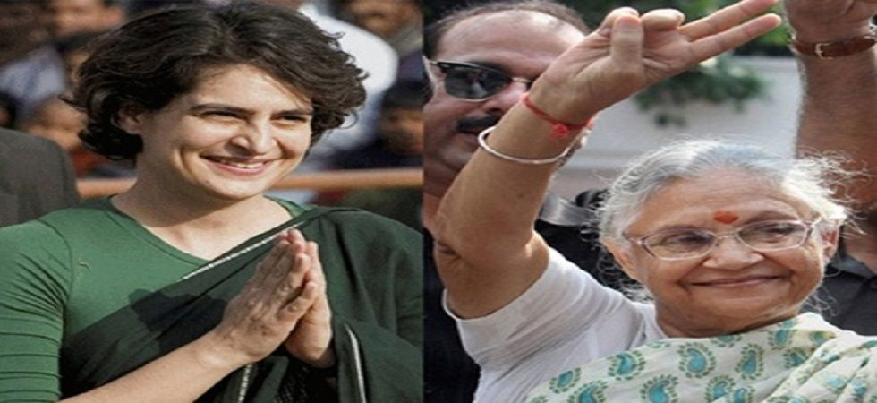 Congress general secretary Priyanka Gandhi Vadra with Sheila Dikshit. (File)
