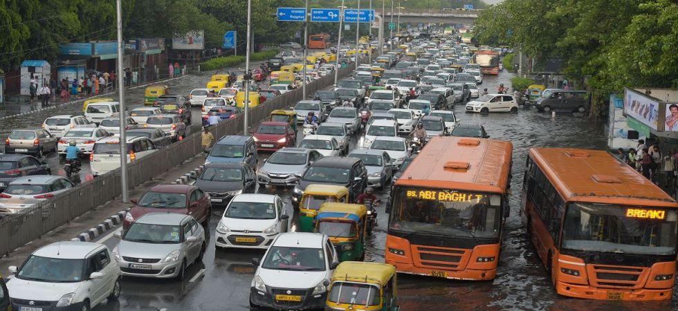 Traffic congestion due to waterlogging following heavy monsoon rain in New Delhi (Photo Source: PTI)