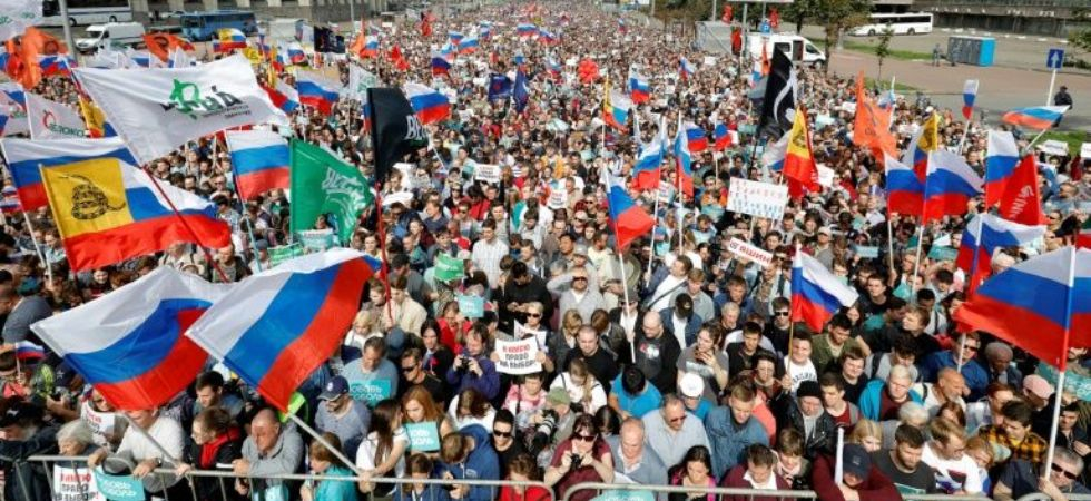 Protest in Russia (Photo Credit: Twitter)