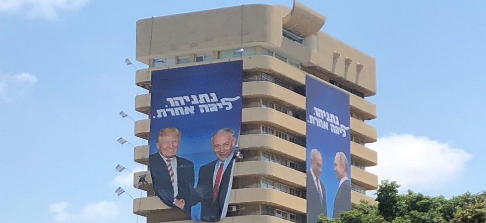 Israeli Prime Minister Benjamin Netanyahu's Likud Party has come up with posters of him with world leaders.