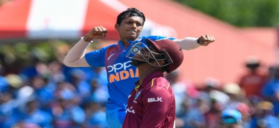 Navdeep Saini made a sparkling debut by picking up 3/17 in his debut T20I against West Indies. (Image credit: Twitter)
