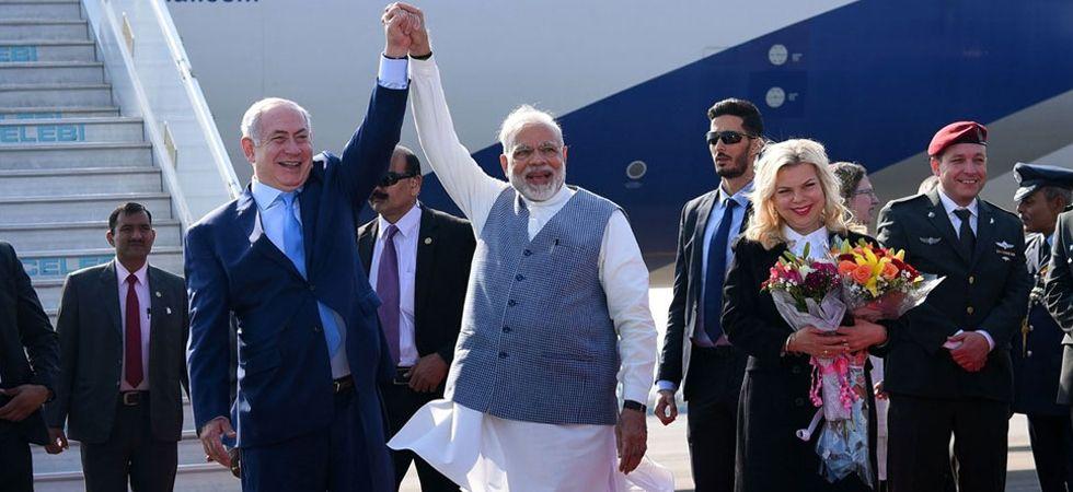Israeli Prime Minister Benjamin Netanyahu with PM Modi
