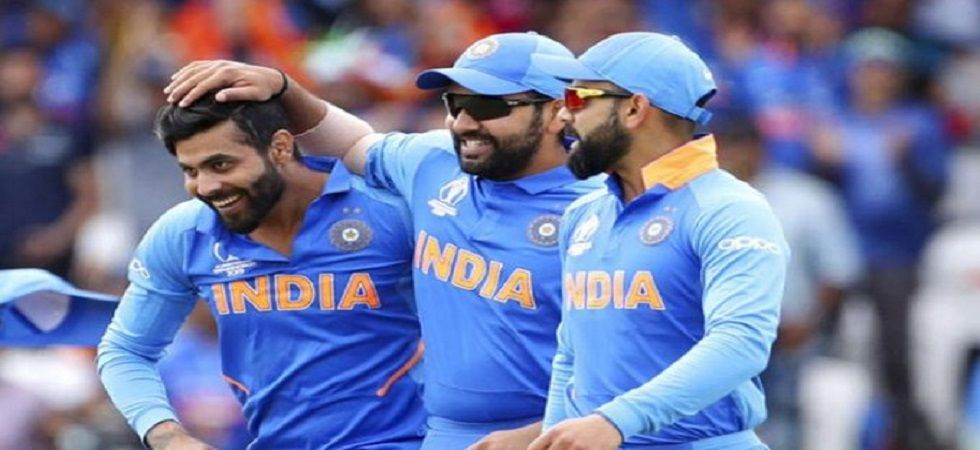 Rohit Sharma and Ravindra Jadeja were involved in a game of dumb charades and Virat Kohli was the subject. (Image credit: Twitter)