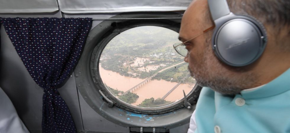 Union Home Minister Amit Shah undertook an aerial survey of flood-ravaged areas in Karnataka.