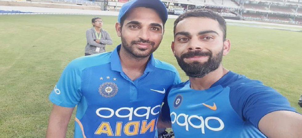 Bhuvneshwar Kumar's 4/31 and Virat Kohli's 42nd century gave India a 59-run win via DLS method against West Indies. (Image credit: Twitter)