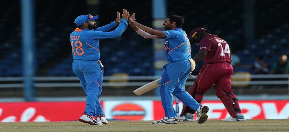 Bhuvneshwar Kumar's 4/31 helped India win by 59 runs against West Indies. (Image credit: BCCI Twitter)