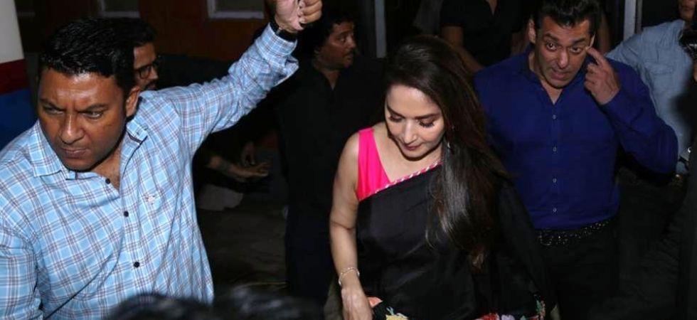 Salman Khan and Madhuri Dixit at a special screening of their film Hum Aapke Hain Koun. (Image: IANS)
