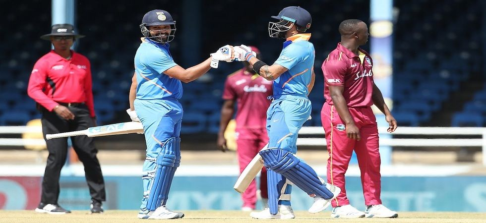 Indian skipper celebrating after scoring his 42md ODI century against Windies in second ODI. (Photo: BCCI/Twitter)