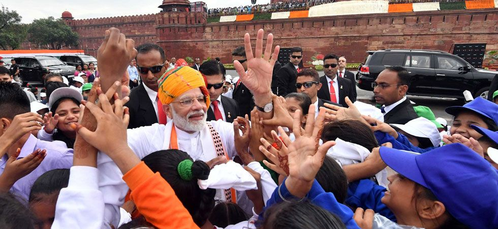 Al Madiha, a Class VII student of another government school, was over the moon having got a chance to shake hands with PM Modi. (Image Credit: PIB)