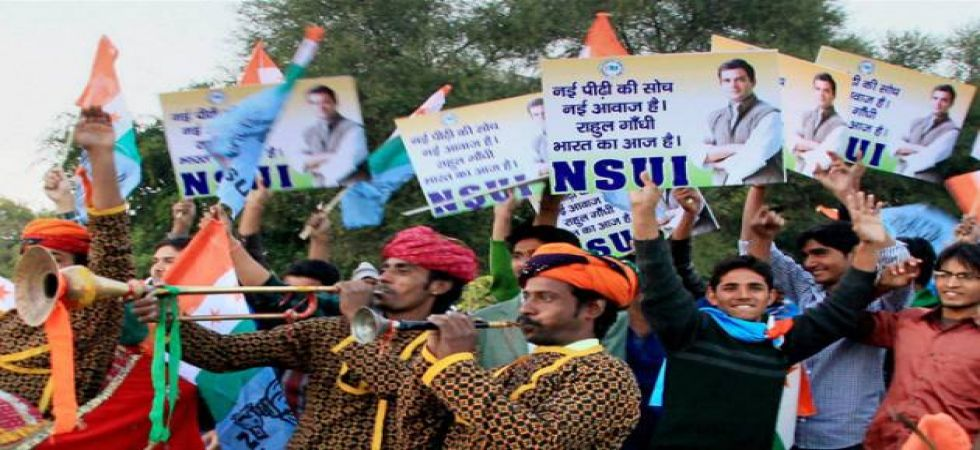 NNSUI leaders put a shoe garland on the statue of Veer Savarkar at the North campus of Delhi University (File Photo)