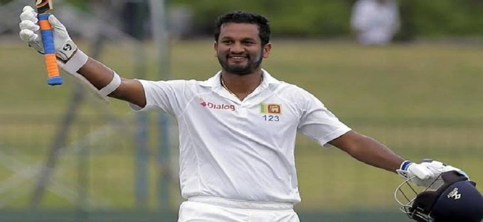 Dimuth Karunaratne continued his great form as he ended on 49 at the end of a rain-hit first day of the second Test in Colombo against New Zealand. (Image credit: Twitter)