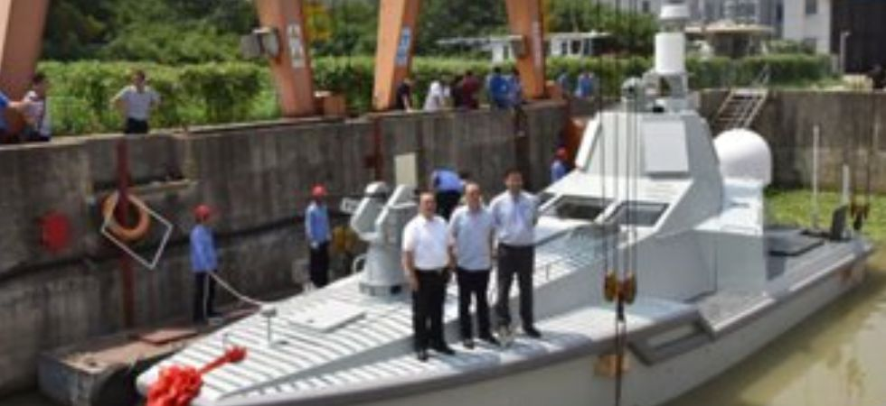 The JARI multi-purpose unmanned combat vessel held its launch ceremony on Wednesday at an undisclosed location. (Photo courtesy: Global Times)