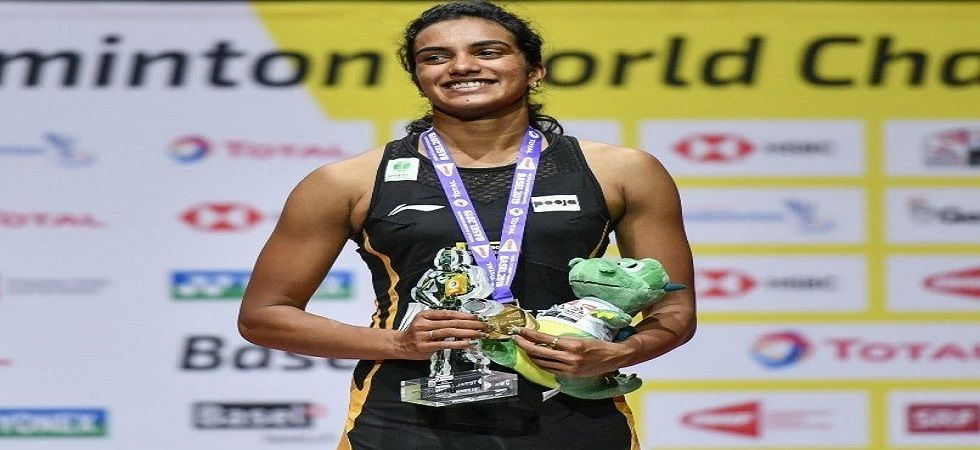 PV Sindhu became the first Indian shuttler to win gold in the Badminton World Championship in Basel. (Image credit: Twitter)
