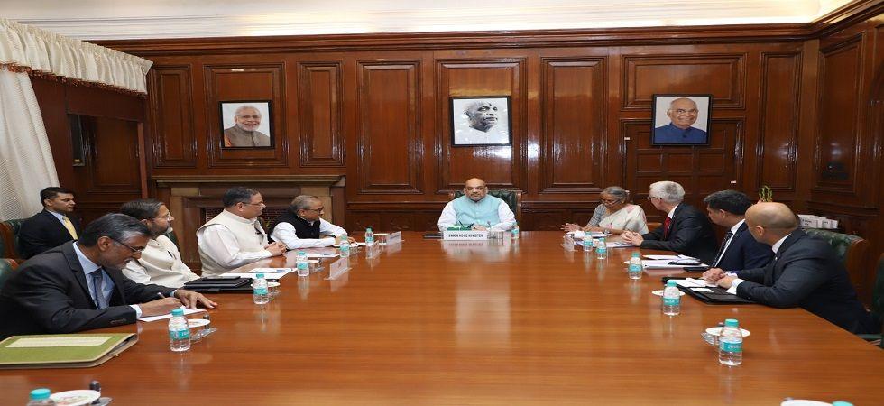 Union Home Minister Amit Shah meets Interpol Secretary General Jurgen Stock on Saturday.
