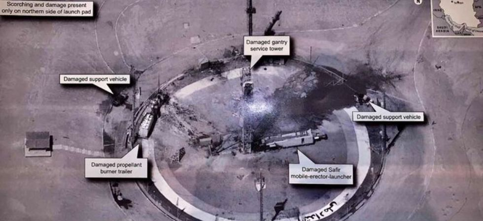 Publicly available satellite photos also show what appears to have been the rocket's explosion on its launch pad. (File Photo)