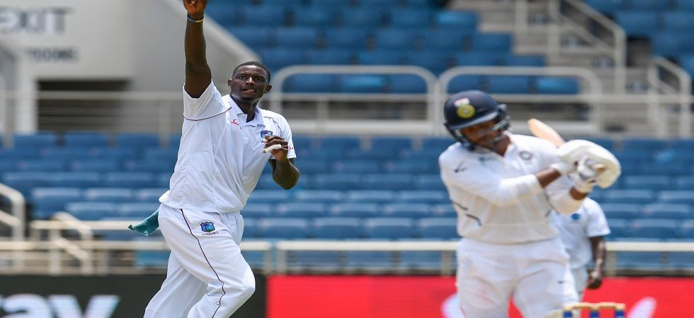 Jason Holder became the fastest to 1000 runs and 100 wickets in Tests during the match against India at Sabina Park, Kingston. (Image credit: Twitter)
