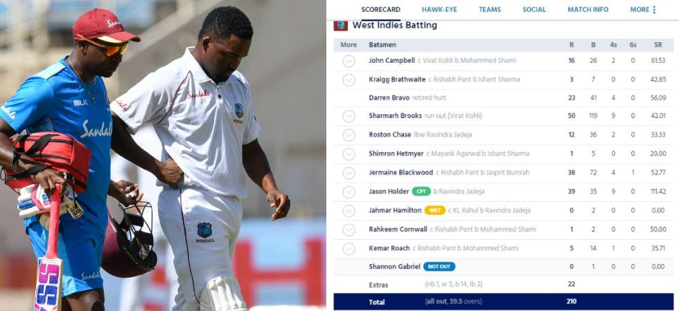 Darren Bravo had to retire after being hit by a Bumrah bouncer (Image: Windies Cricket)