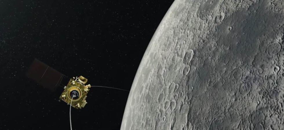 An illustration of the Chandrayaan-2 orbiter in the moon's orbit. (Image: ISRO)