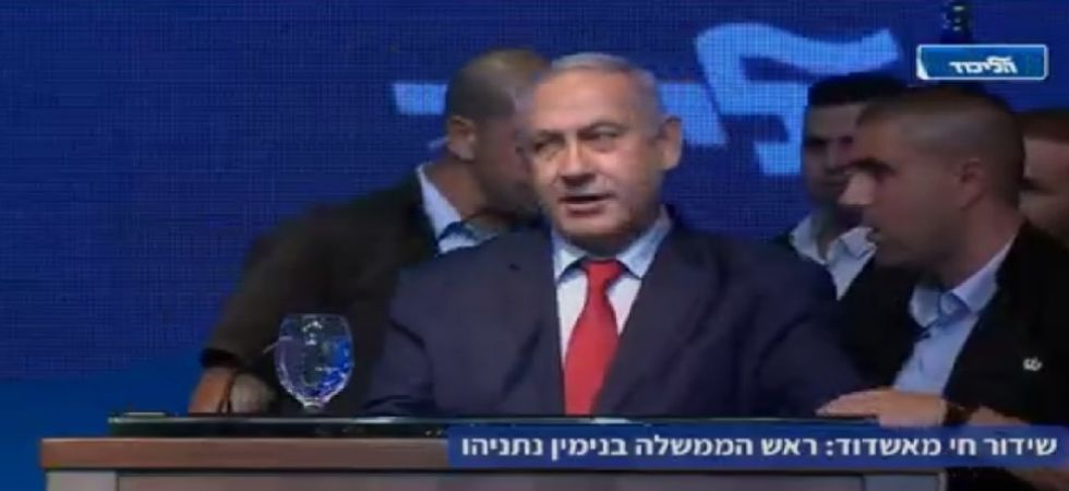 Israeli Prime Minister Benjamin Netanyahu speech was being carried live on Likud's Facebook page.
