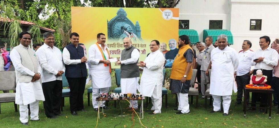 Udayanraje Bhosale joins BJP in presence of Amit Shah (Photo Source: Twitter - @amitshah)