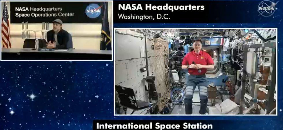 Brad Pitt in conversation with NASA astronaut aboard ISS (Photo: Twitter/NASA)