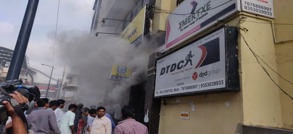 Fire at UCO Bank building in Bengaluru (Photo Source: ANI)