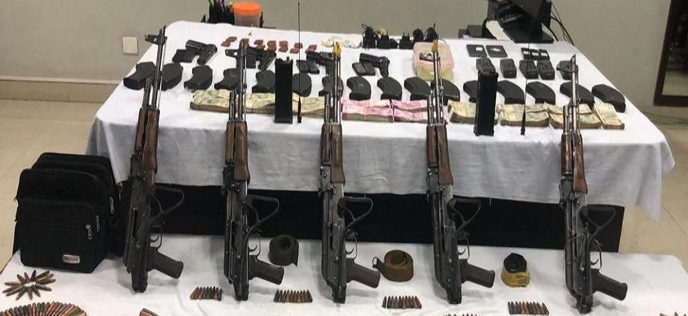 The police seized a huge cache of arms, including five AK-47 rifles, pistols, satellite phones and hand grenades. (ANI/Twitter)