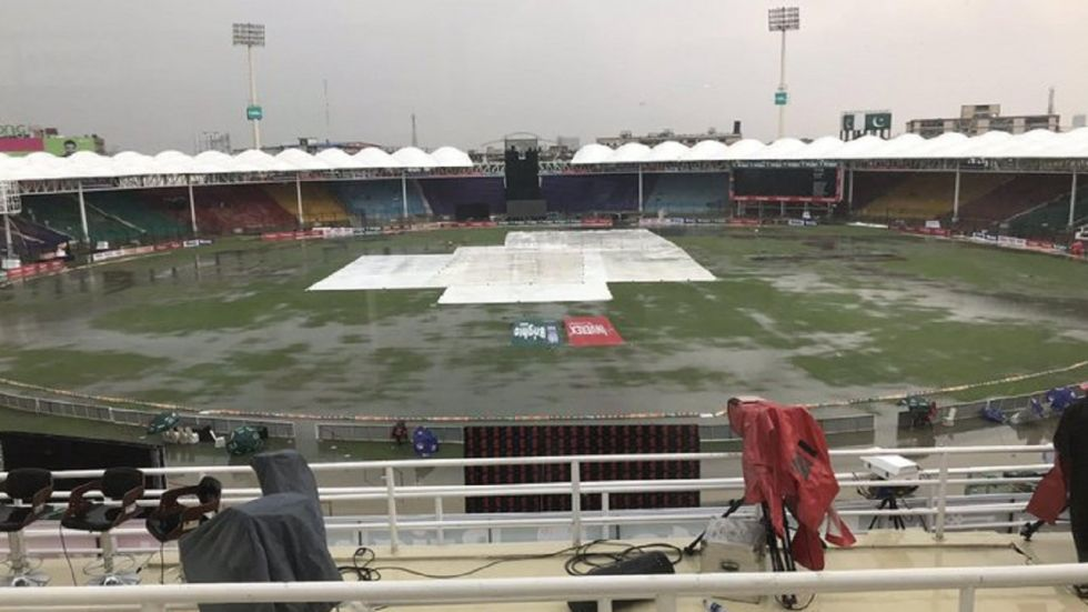 The first game between Pakistan and Sri Lanka at the National Stadium in Karachi was abandoned due to heavy rain. (Image credit: Twitter)