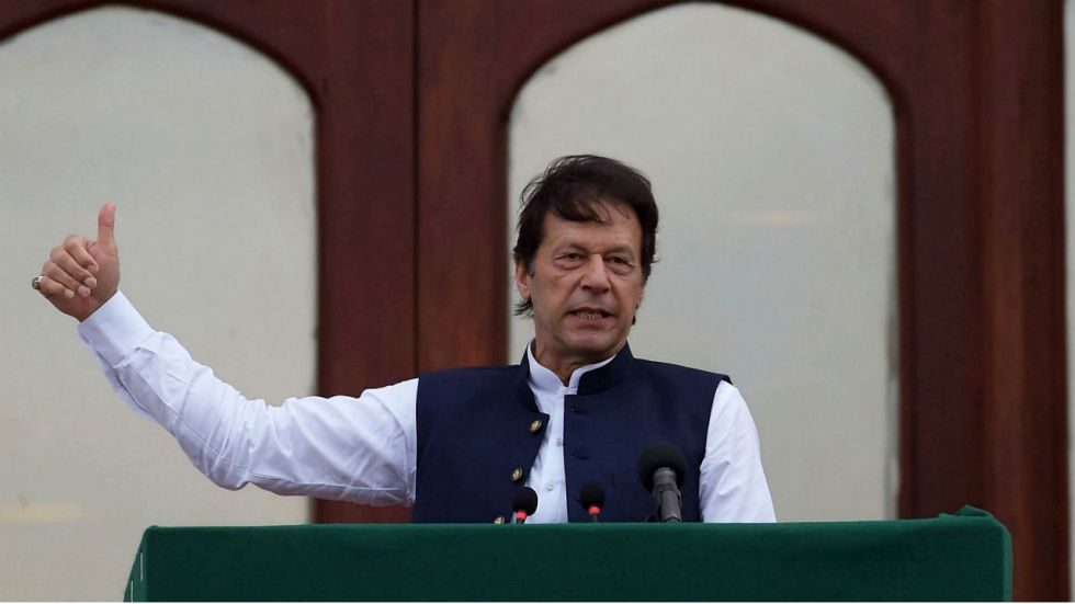 Imran Khan was heading back to Pakistan after attending the United Nations General Assembly (Image: File)