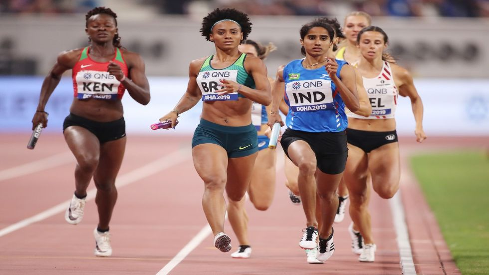 Muhammed Anas, V K Vismaya, Jisna Mathew and Tom Nirmal Noah clocked 3 minutes 16.14 seconds to finish third in heat number 2. (Image credit: Getty Images)