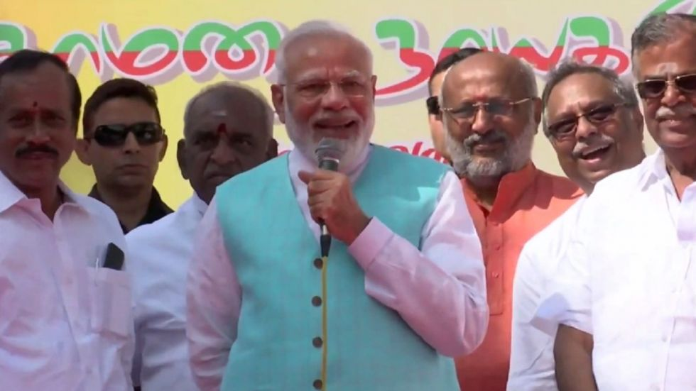 Prime Minister Narendra Modi while addressing BJP cadres at Chennai airport on Monday (Photo Source: Twitter - @BJP4India)