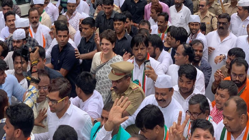 Priyanka Gandhi held a silent march in Lucknow on the occasion of the 150th birth anniversary of Mahatma Gandhi. (Photo: Twitter)