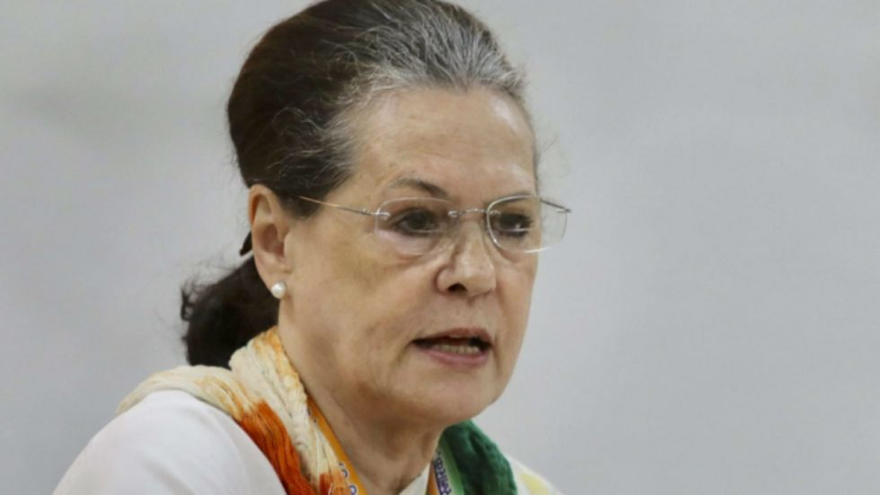 Sonia Gandhi was talking to party workers at Rajghat (Image: PTI)