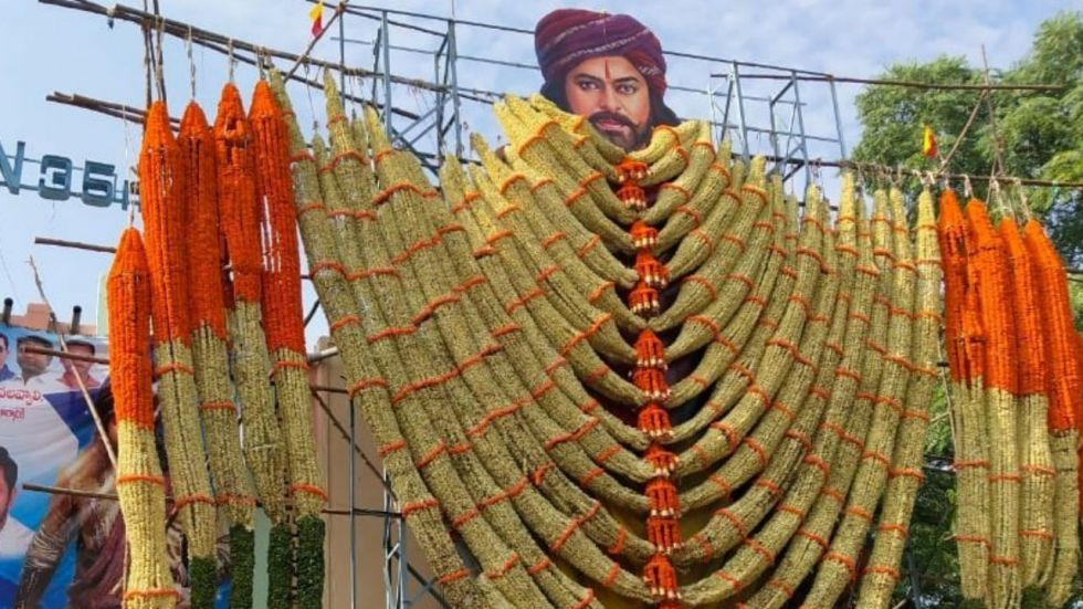A cut-out of veteran actor Chiranjeevi in Hyderabad on release of Sye Raa Narsimha Reddy (Image: ANI)