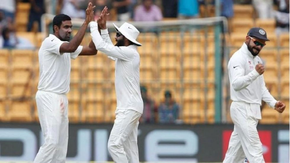 Ravichandran Ashwin took two wickets and Ravindra Jadeja got one wicket as India dominated against South Africa in Vizag. Get live cricket score and updates here. (Image credit: Twitter)